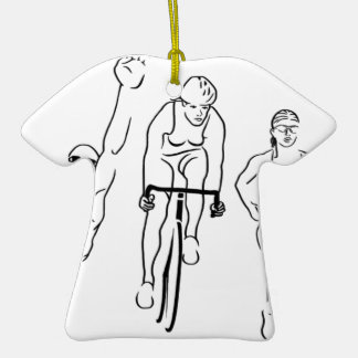 Swim Bike Run Triathlon Woman Ornament