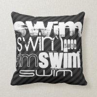 Swim; Black & Dark Gray Stripes Throw Pillow