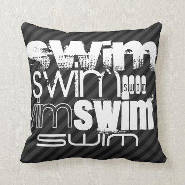 Swim; Black & Dark Gray Stripes Throw Pillows