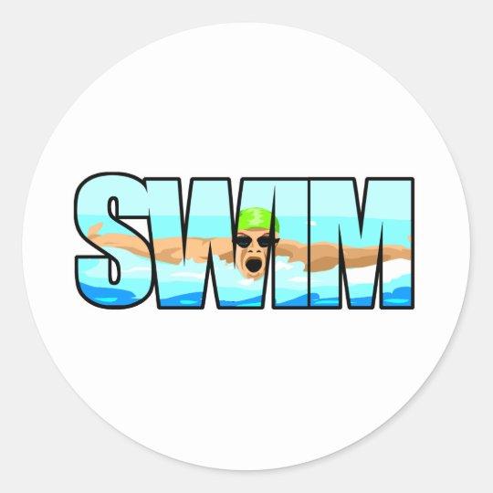 Swim Butterfly Classic Round Sticker