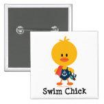 Swim Chick 2 Inch Square Button