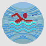 Swim Club Swimmer Exercise Fitness NVN254 Swimming Classic Round Sticker