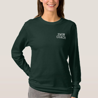 SWIM COACH EMBROIDERED LONG SLEEVE T-Shirt