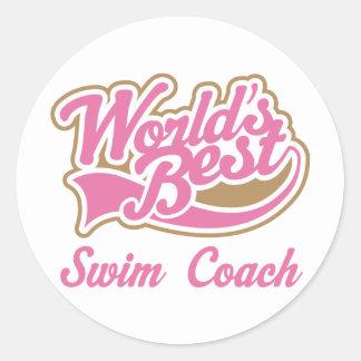 Swim Coach Gift Classic Round Sticker