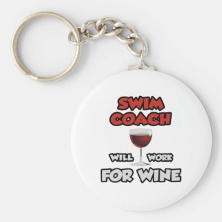 Swim Coach ... Will Work For Wine Keychain