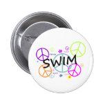 Swim Colored Peace Signs Button