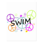 Swim Colored Peace Signs Postcard