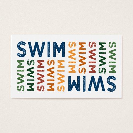 Swim Cute Colorful Business Card