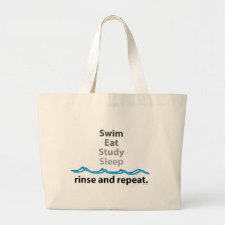 Swim, eat, study, sleep ... rinse and repeat large tote bag