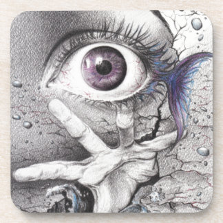 """Swim"" eye surreal drawing Coasters"