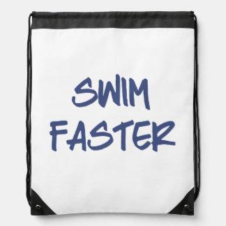 Swim Faster Drawstring Bag