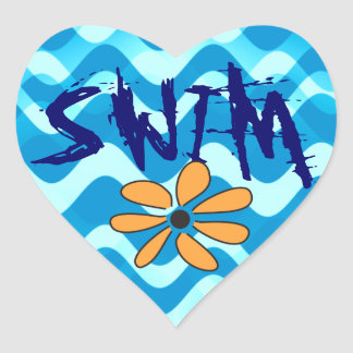 SWIM Flower Heart Sticker