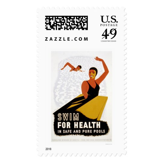 Swim For Health 1940 WPA Postage