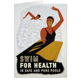 Swim for Health! Retro Greeting Card