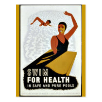 Swim for Health - Vintage WPA poster Postcard