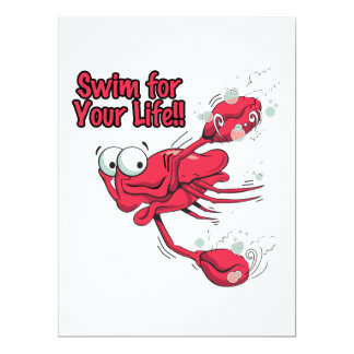 "swim for your life scared swmming crab 6.5"" x 8.75"" invitation card"