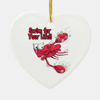 swim for your life scared swmming crab christmas tree ornaments