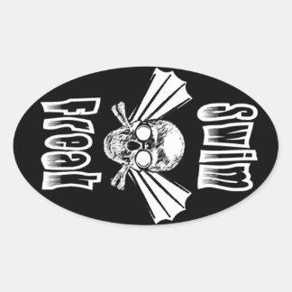 Swim Freak oval sticker