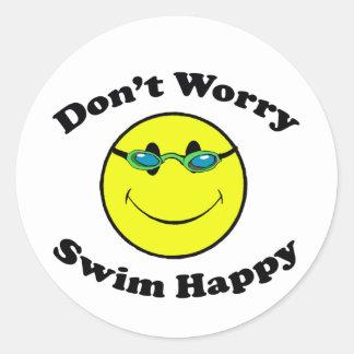 Swim Happy Classic Round Sticker