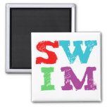SWIM letters 2 Inch Square Magnet