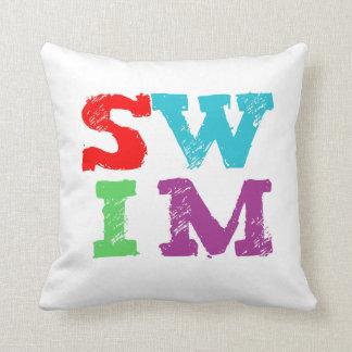 SWIM letters Throw Pillows