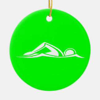 Swim Logo Ornament w/Name Green