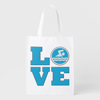 Swim Love For Competitive Swimmers or Coaches Reusable Grocery Bag