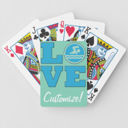 Swim Love Playing Cards for Competitive Swimmers