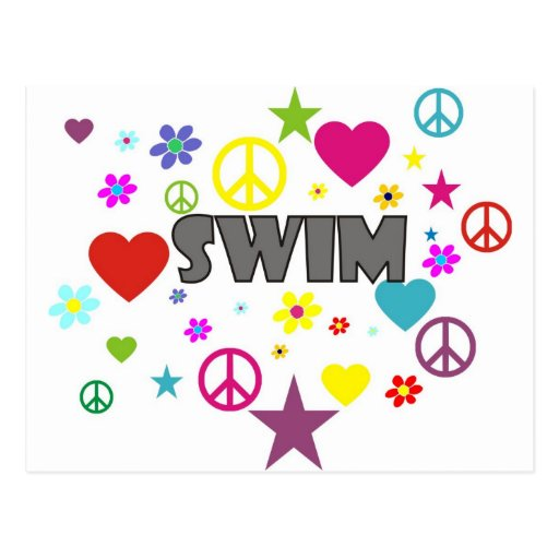 Swim Mixed Graphics Postcard