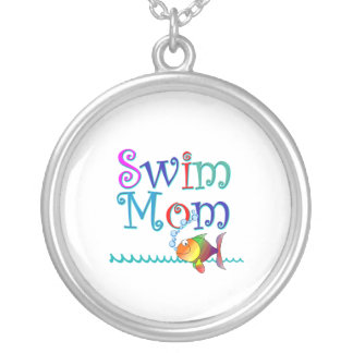 Swim Mom Silver Plated Necklace