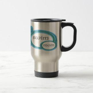 Swim Mom Swirl 15 Oz Stainless Steel Travel Mug