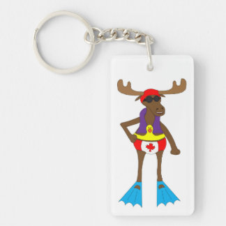 Swim Moose Keychain
