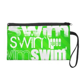 Swim; Neon Green Stripes Wristlet Purse