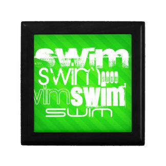 Swim; Neon Green Stripes Gift Box