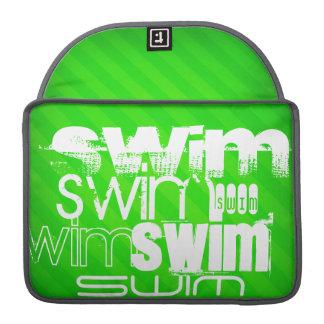 Swim; Neon Green Stripes MacBook Pro Sleeve