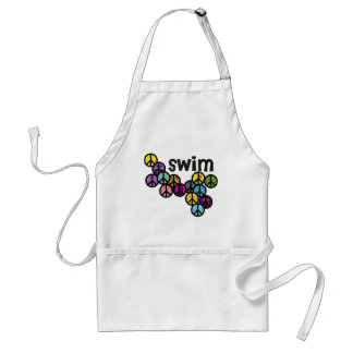 Swim Peace Signs Filled Adult Apron