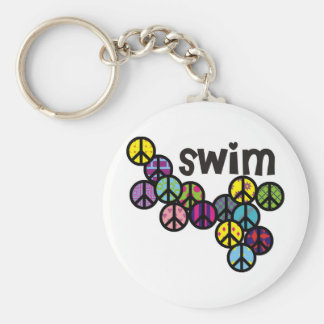 Swim Peace Signs Filled Basic Round Button Keychain