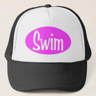Swim pink oval trucker hat