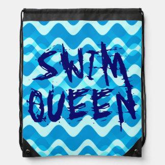 SWIM QUEEN Drawstring Backpack Cinch Bag