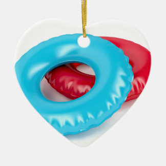 Swim rings ceramic ornament