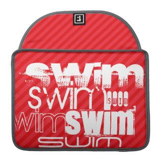 Swim; Scarlet Red Stripes Sleeve For MacBook Pro