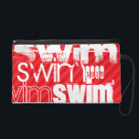"Swim; Scarlet Red Stripes Wristlet Purse<br><div class=""desc"">Cool,  white  swim,  swimming,  swim team,  swimmer,  water sports   word cloud text pattern template on red,  scarlet red diagonal stripes,  striped  background!  Great gift for kids,  teenager,  teens,  or adults; boy or girl!  Trendy,  cute design with different fun grunge white fonts!</div>"