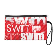 Swim; Scarlet Red Stripes Wristlet Purse