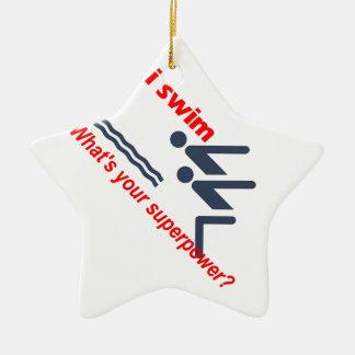 Swim super power ceramic ornament