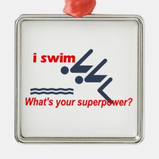 Swim super power metal ornament