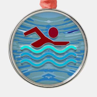 SWIM Swimmer Love Heart Pink Red Pool  FUN Metal Ornament