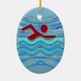 SWIM Swimmer Love Heart Pink Red Pool NVN695 FUN Double-Sided Oval Ceramic Christmas Ornament