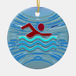 SWIM Swimmer Love Heart Pink Red Pool NVN695 FUN Double-Sided Ceramic Round Christmas Ornament