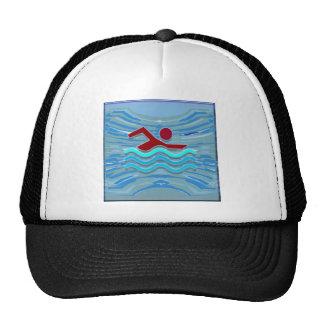 SWIM Swimmer Love Heart Pink Red Pool NVN695 FUN Trucker Hat