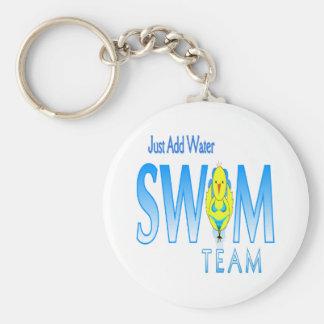 Swim Team Basic Round Button Keychain